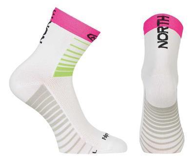 NW Ponožky Sonic Socks White/Green Fluo/Fuchsia - M