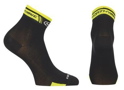 NW Ponožky Logo Socks Black/Yellow Fluo - M